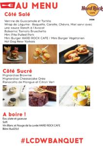 menu du banquet